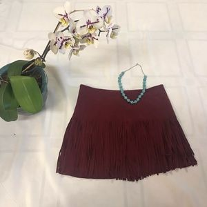 Jolt Fringe Suede-like Mini Skirt